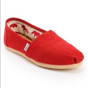 Toms Red Canvas Women's Classics